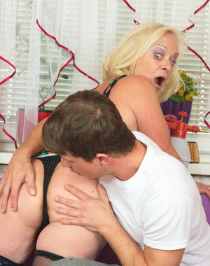Horny housewife fooling around with her boy toy