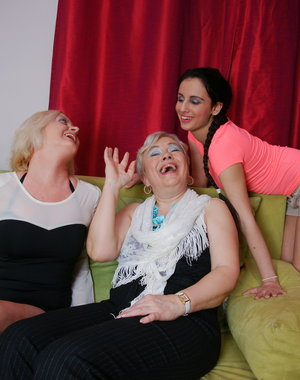 These three old and young lesbians have a wicked threesome