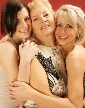 Three old and young lesbians having fun