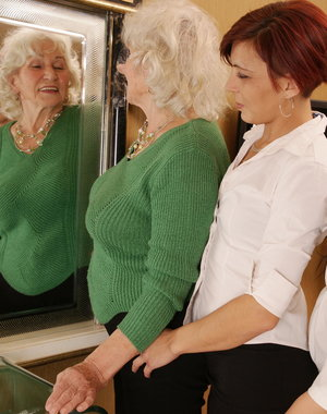 Naughty old and young lesbians having fun