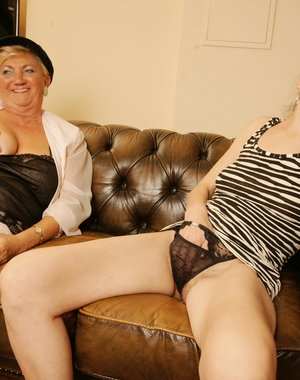 Four old and young lesbians make out and have fun