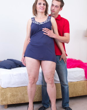 Hairy housewife fucking her boy toy