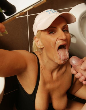 Mature slut caught on the toilet and going wild