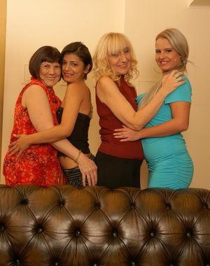 Four mature and young lesbians make it wild