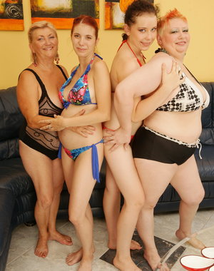 four old and young lesbians having a party