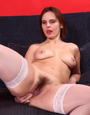 Hairy horny mama playing with herself