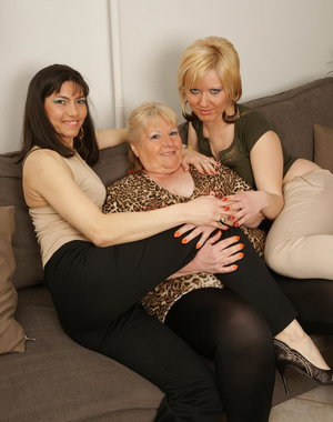 These naughty three old and young lesbians go at it all night long