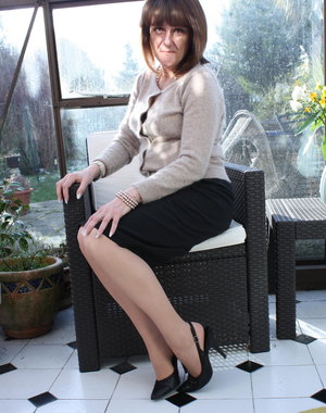 Horny housewife playing alone in the garden house