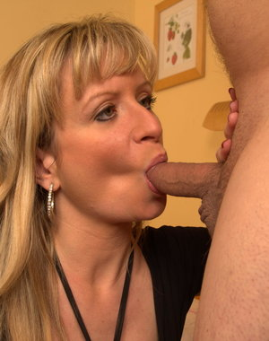 Horny blonde housewife sucking and fucking her ass off