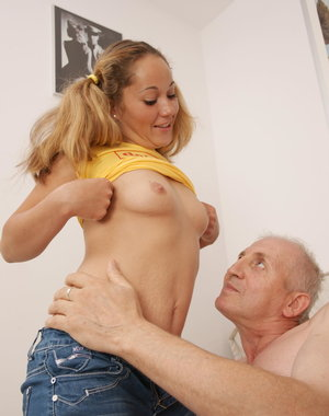 Hot young babe doing a naughty old man