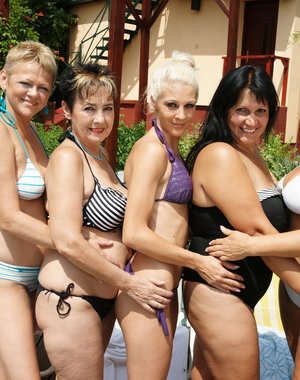 Five old and young lesbians have a party in the sun