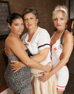 Mature lesbian nurse and her two naughty patients