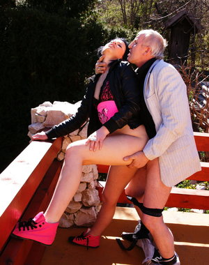 This old man loves fucking his way younger babe outside