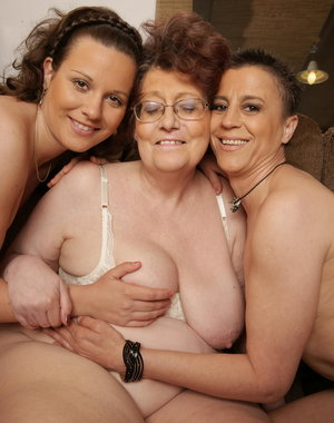 Three horny old and young lesbians play a game