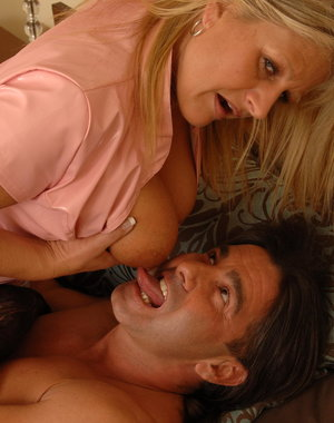 Big breasted housewife fucking and sucking hard