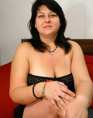 Naughty chubby housewife playing with herself