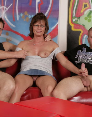 This naughty housewife loves fucking two guys at once