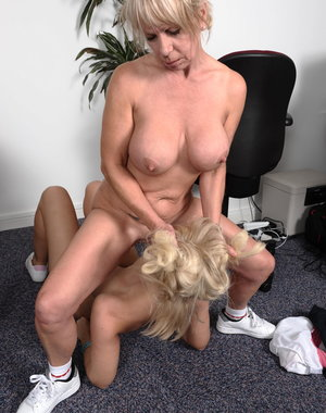 Hot blonde chick getting licked by her mature lesbian teacher