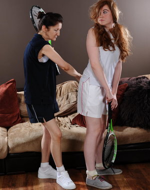 This naughty teen gets a wet lesson from her tennis teacher