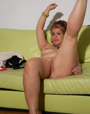 Lovely housewife moaning on the couch
