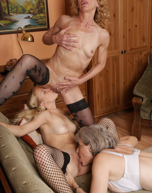 On hot babe shared by three mature lesbians