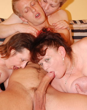 Three mature ladies go wild on one cock