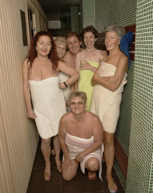 Take a look in sauna filled with mature ladies