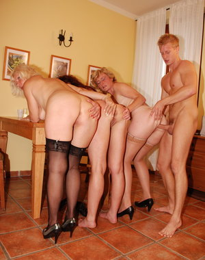 These naughty housewives get to share on lucky dudes cock