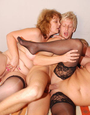 One lucky dude doing three naughty mature sluts