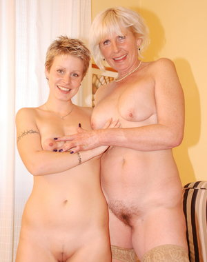 Older lesbian having fun with a hot babe