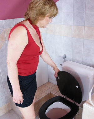 Housewife caught on the toilet