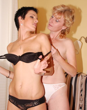 Mature lesbian loving a hot young slut