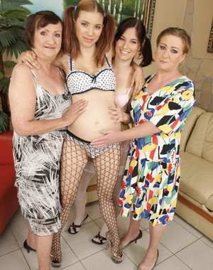 three old and young lesbians do one pregnant babe
