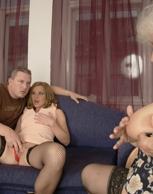 One dude doing a MILF and a mature nympho