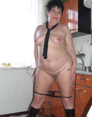 Chubby amateur housewife shows it all