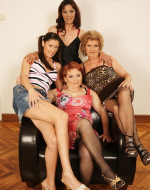 Three horny mature lesbians take on one hot babe