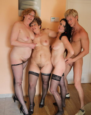 One strapping dude fucking three mature sluts