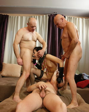 Three dirty old men take on a hot young babe