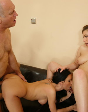 Horny old dude doing two hot babes