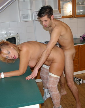 Kinky housewife fucked in her kitchen
