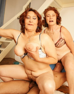 Two mature sluts take on one hard cock