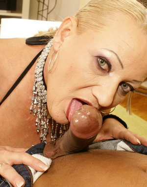 Horny Granny loves getting a warm creampie