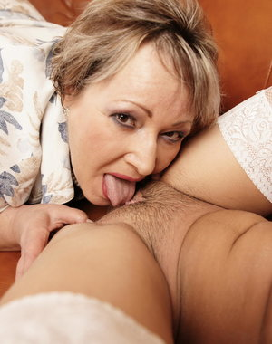 This hot babe loves the touch from an older woman