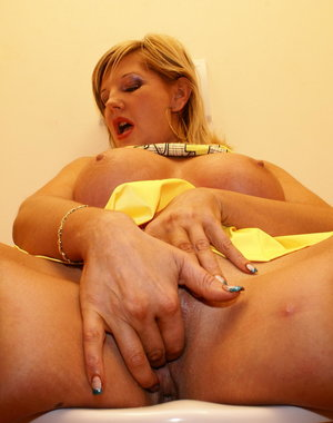 Blonde big titted mama fucking and sucking on the toilet