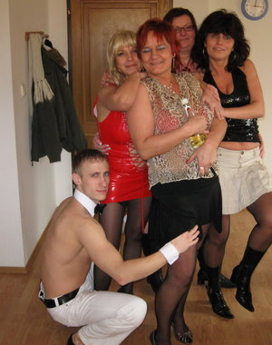 Theres just one cock to please all these horny mature sluts at their party