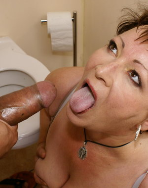 This mature slut loves to get fucked on the toilet