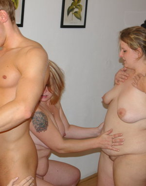 four cockhungry mature sluts sharing one strapping younger dude