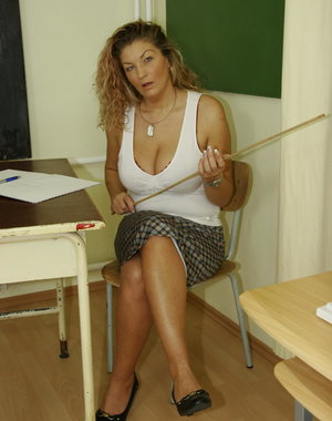This big titted teacher is giving a very special hot lesson