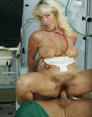 This blonde mature nurse loves fucking while working