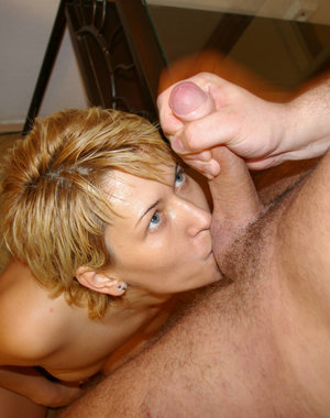 Blonde housewife munching on a hard cock